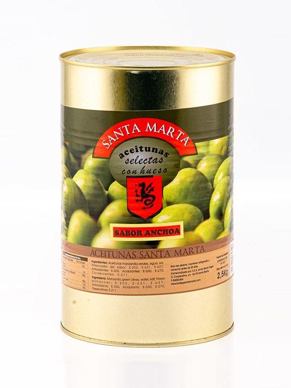 Lata Aceitunas con hueso sabor anchoa Santa Marta (2,5Kg)