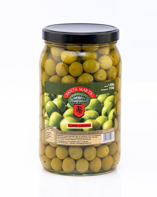 Tarro Aceitunas con hueso sabor anchoa Santa Marta